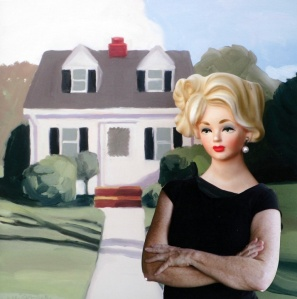 "Jill Kerwick: ""Doris at Home"". Archival photocollage, 9"" x 9"", 2012."