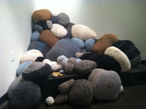 "Melissa Maddonni Haims: ""Offering"". Crocheted sculpture, dimensions various, 2013."