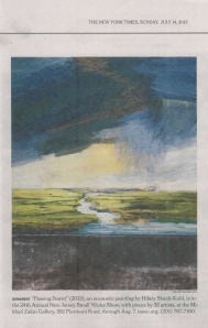 "Hilary Shank-Kuhl, ""Passing Storm"". (NY Times Metro section, July 2013.) Encaustic painting, 2013."