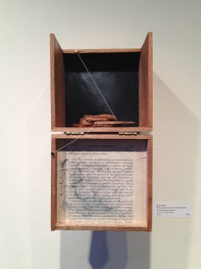 "Heather Riley, ""From Above"" (installation view). Wood, nails, thread, conte, graphite, paper, acrylic, oil, cigar box, 4″x 5.5″x 4.25″, 2013. Photo: P. Sullivan"