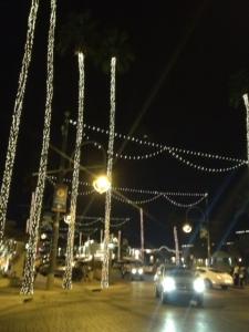 """Old Town"" Scottsdale, illuminated palm trees, during the weekly Thursday evening ArtWalk, February, 2014. Photo: P.Sullivan"
