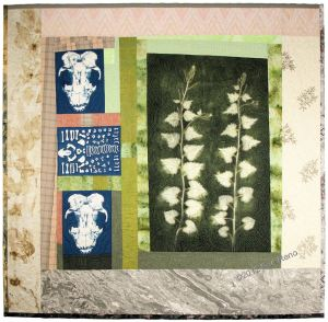 "Sue Reno, ""Skunk and Garlic Mustard"", cyanotypes on cotton, heliographic print on silk, artist-painted, vintage embroidery, stitching, 50""h x 51""w, 2012. Photo courtesy of the artist."