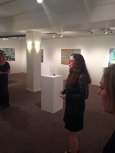 P.Sullivan, presenting my artist talk on opening night, 'Fragments' exhibition, Glens Falls, NY, August 2014.