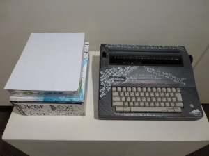 "Liz Parsons: ""Get Her Words Out"". (Typewriter detail view.) Installation (mixed media), 2014."