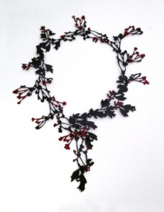 "Helen Shirk, ""Neckpiece NP2"", mild steel, china paint, 14in. x 11in. x 1in., 2013."