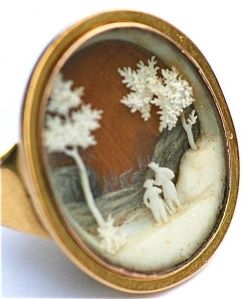 Georgian Period Micro Ivory Ring, circa 1780. Multi-dimensional micro-ivory scene, set under crystal. Photo used courtesy of Rowan and Rowan, London.