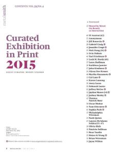 Excerpt, contents, Metalsmith magazine's Exhibition in Print 2015. Image appears courtesy of Metalsmith and SNAG.