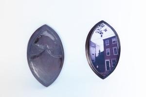 """Patricia Sullivan, """"Cityscape Widget Vessel."""" Chased and repoussé copper, patina, digital photo on archival paper, Plexiglas, 3 in. L x 2 in. W x 7/16 in. D, 2016."""